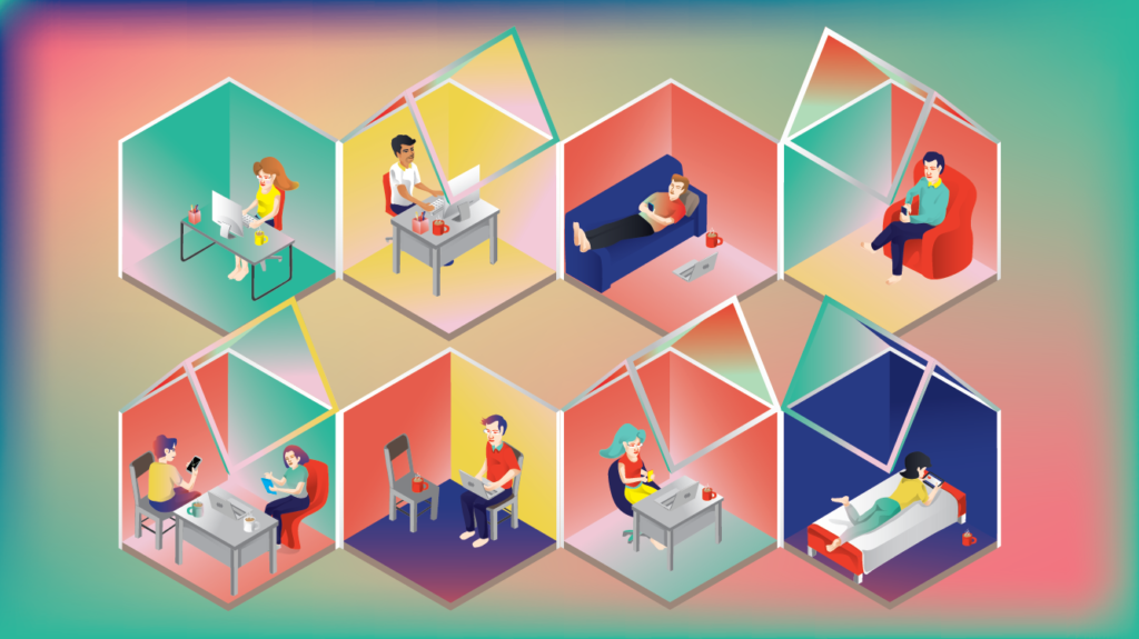 Together while Apart Illustration - People meeting in different rooms using various devices